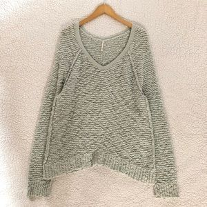 Free People v neck Songbird sheer boucle sweater